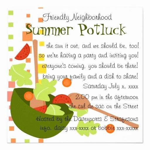 Potluck Party Invitations Wording New Cute Potluck Invitation Wording