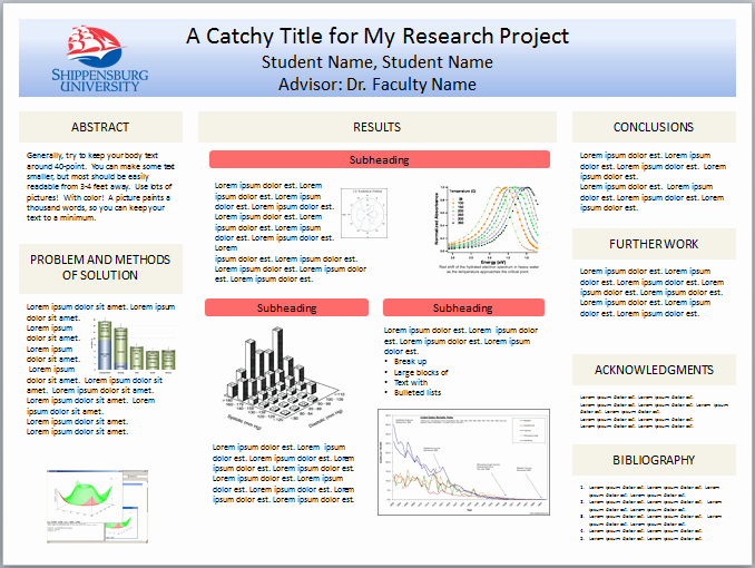 Powerpoint Research Poster Template Lovely Shippensburg University Student Resources