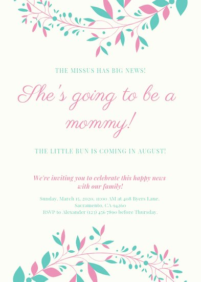 Pregnancy Announcement Cards Free Template Luxury Customize 124 Pregnancy Announcement Templates Online Canva