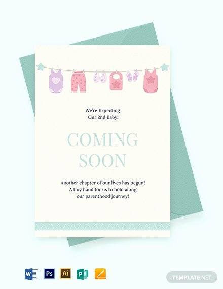 Pregnancy Announcement Cards Free Template New 801 Free Card Templates Pdf Word Psd