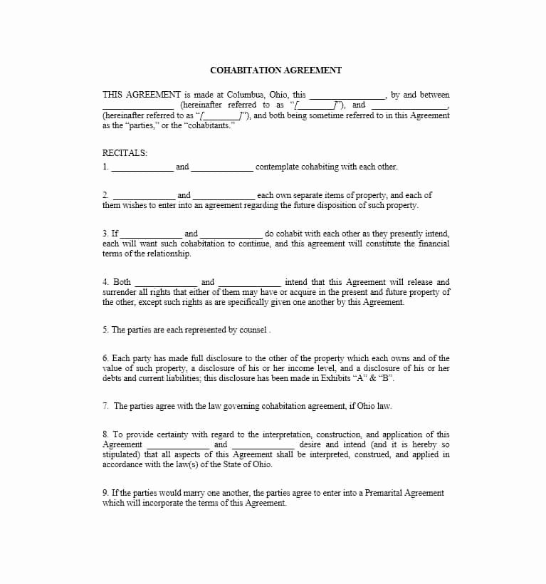 Prenuptial Agreement Massachusetts Sample Awesome Cohabitation Agreement 30 Free Templates & forms