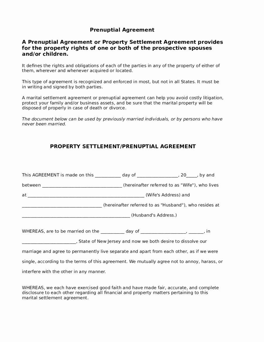 Prenuptial Agreement Massachusetts Sample Beautiful Prenuptial Agreement Nc