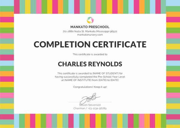 Preschool Diploma Template Word Awesome Certificate Of Pletion 25 Free Word Pdf Psd
