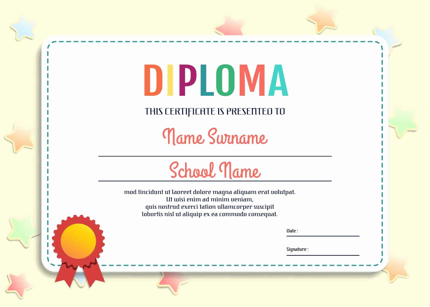 Preschool Diploma Template Word Beautiful Kindergarten Diploma Template Vector Download Free