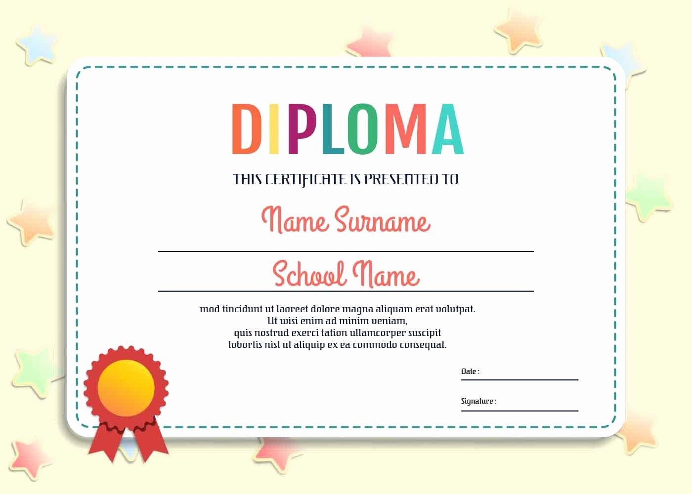 Preschool Diploma Template Word Beautiful Kindergarten Diploma Template Vector Download Free