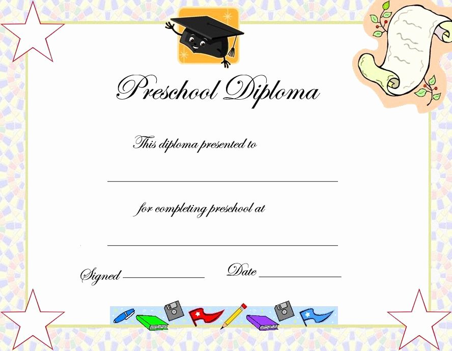 Preschool Diploma Template Word Beautiful Preschool Graduation Certificate Template