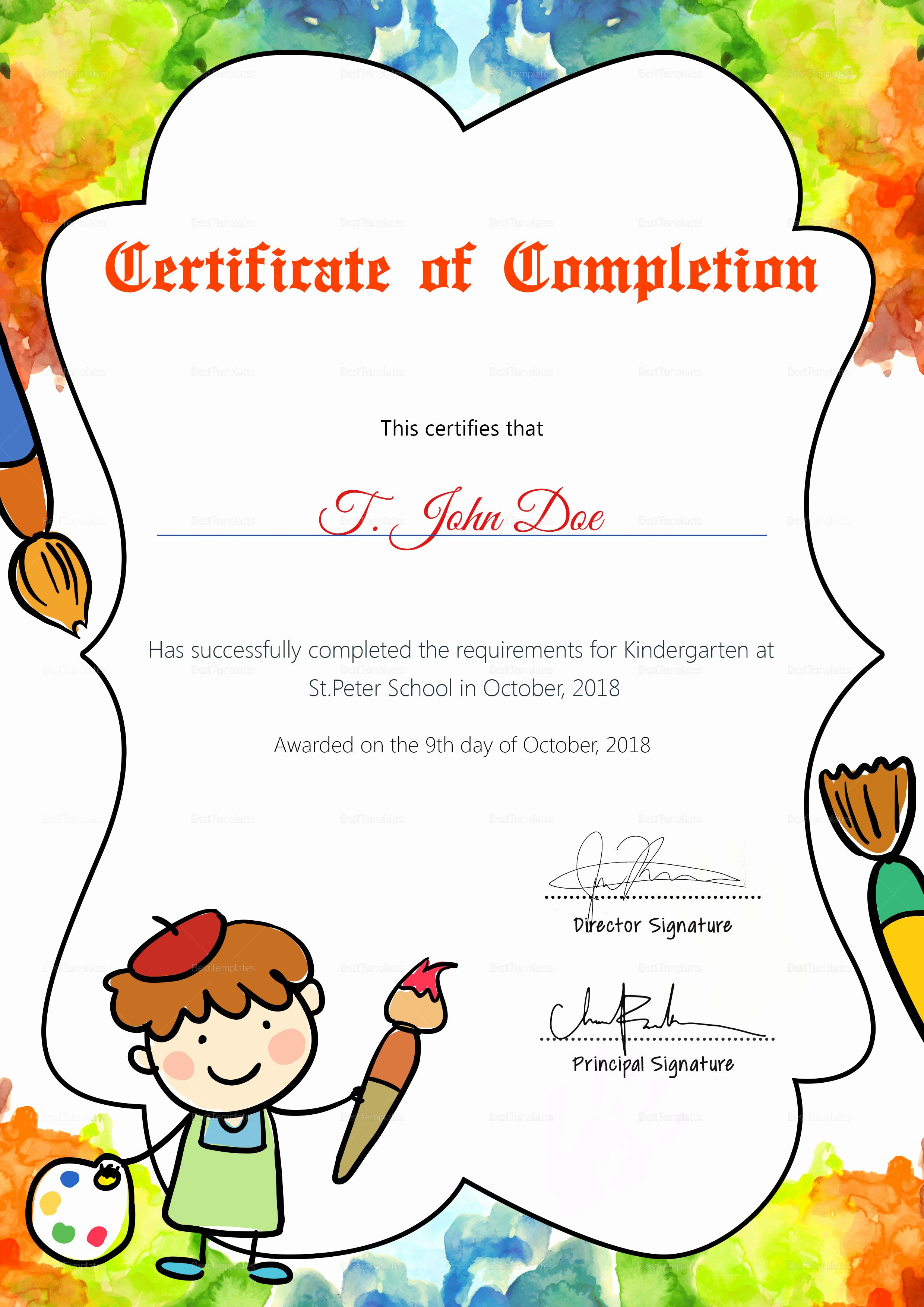 Preschool Diploma Template Word Elegant Preschool Diploma Pletion Certificate Design Template