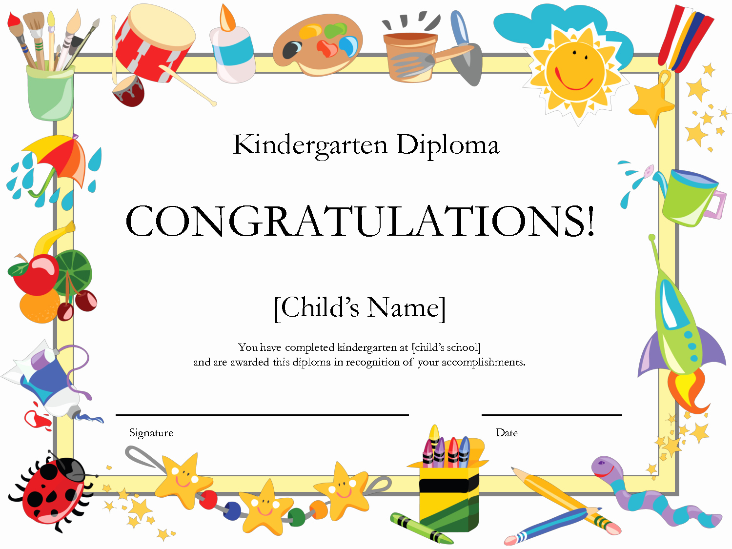 Preschool Diploma Template Word Fresh Free Printable Kindergarten Graduation Certificate