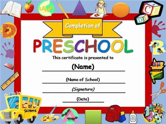 Preschool Diploma Template Word Luxury Free Certificate Templates