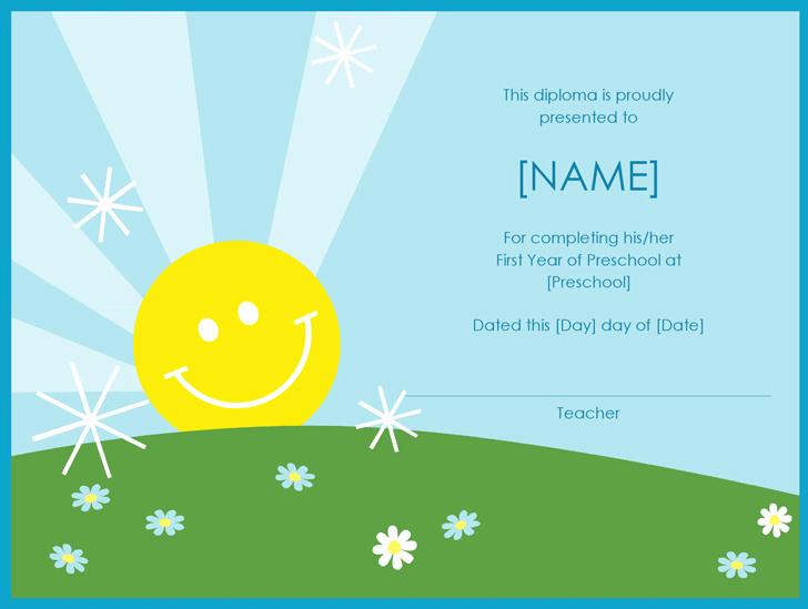 Preschool Diploma Template Word Luxury Preschool Diploma Certificate Sunshine Design