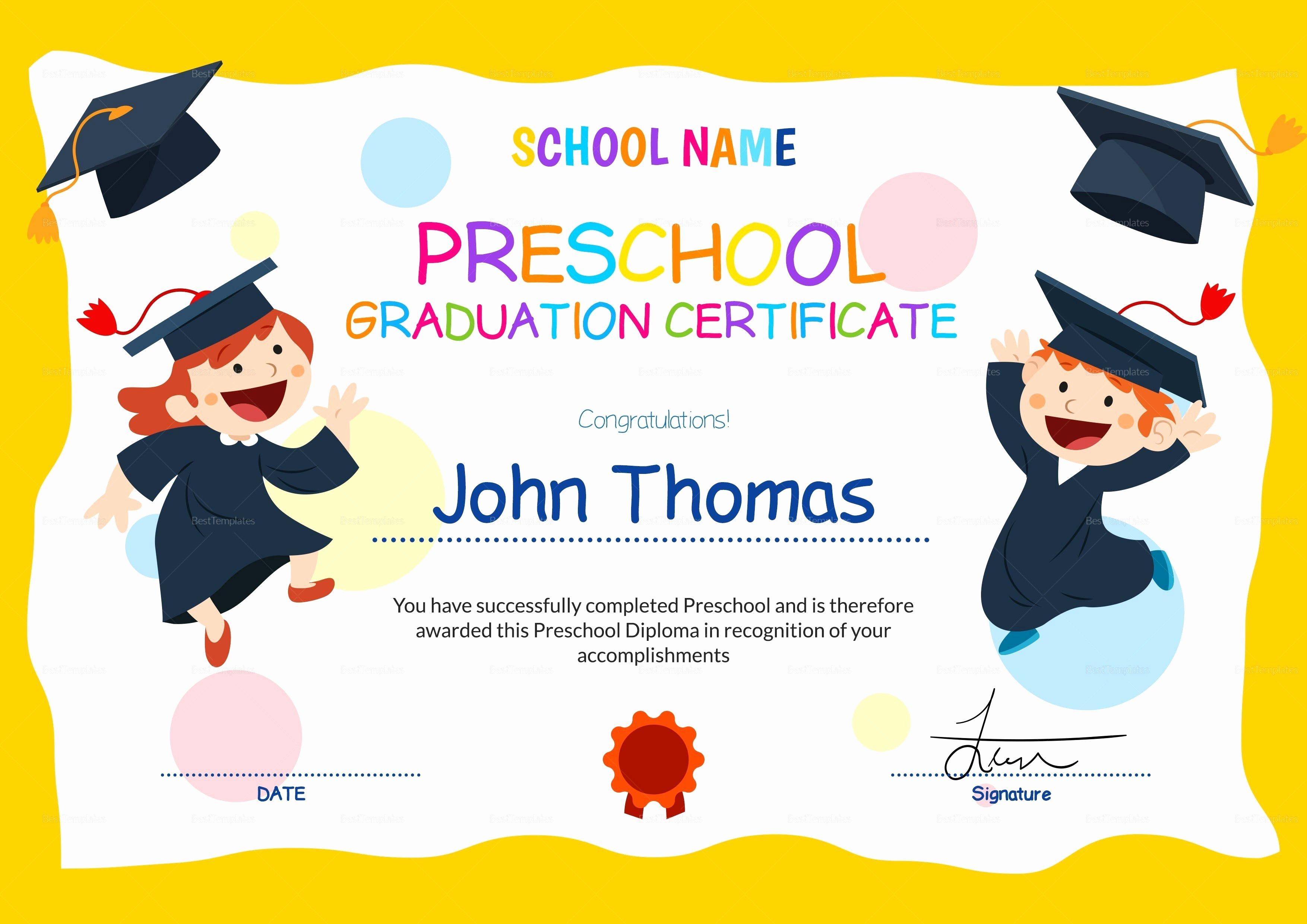 Preschool Diploma Template Word Unique 11 Preschool Certificate Templates Pdf