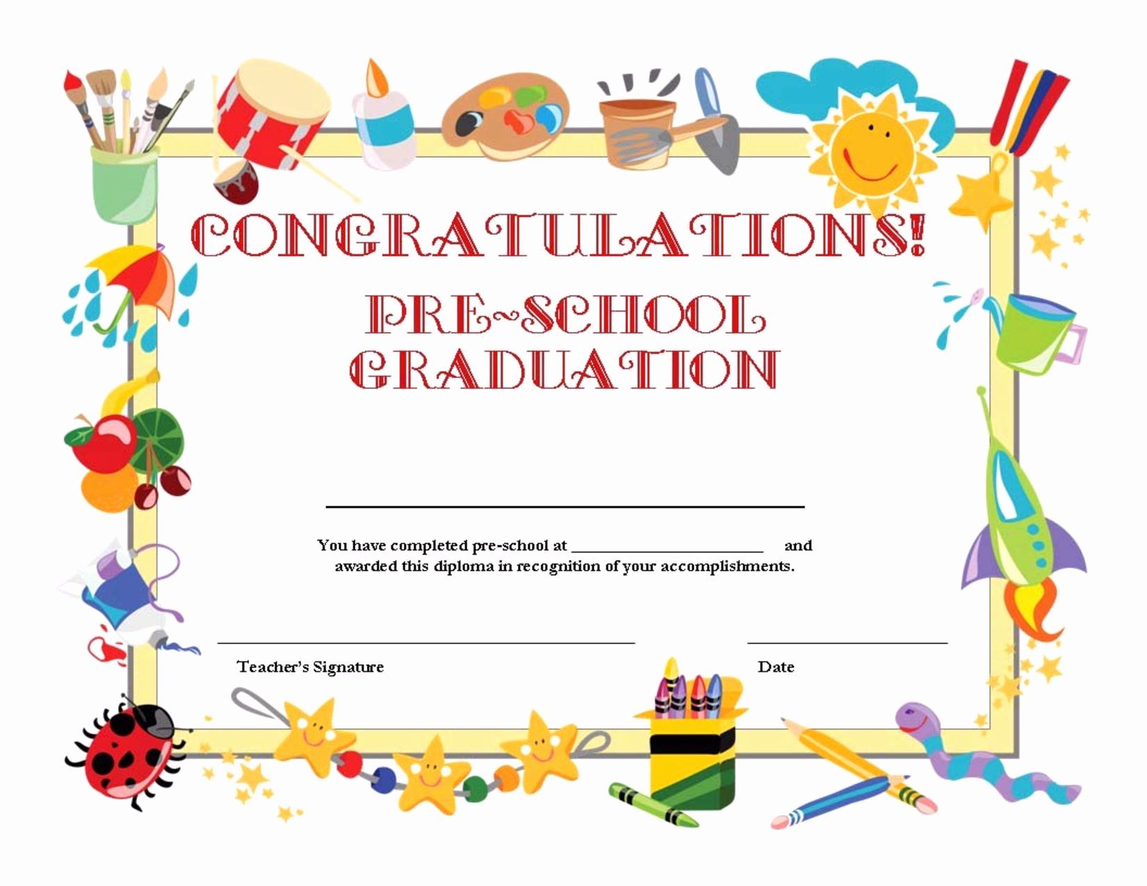 Preschool Diploma Template Word Unique Preschool Graduation Certificate Template Free