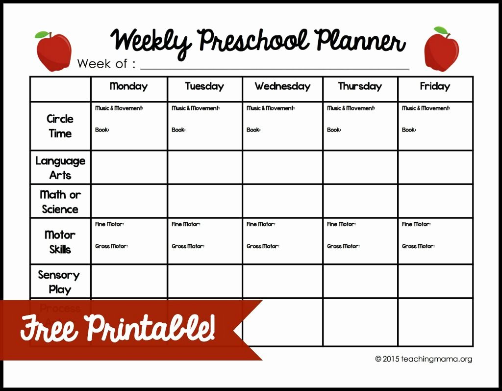 Preschool Lesson Plan Examples Awesome Weekly Preschool Planner