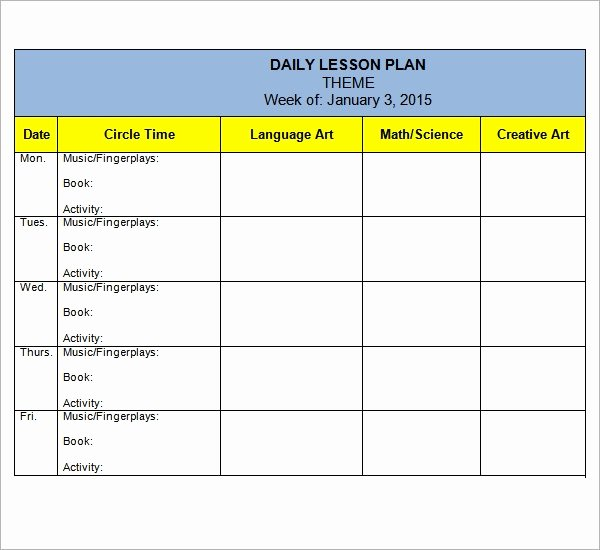 Preschool Lesson Plan Examples Beautiful Free 10 Sample Preschool Lesson Plan Templates In Google