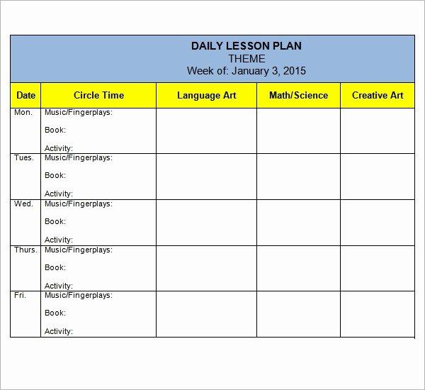 Preschool Lesson Plan Examples Beautiful Free 10 Sample Preschool Lesson Plan Templates In Google