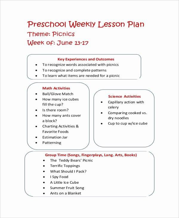 Preschool Lesson Plan Examples Elegant 11 Printable Preschool Lesson Plan Templates Free Pdf