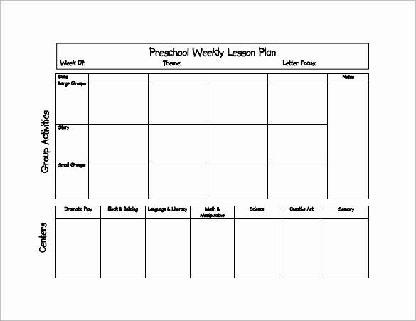 Preschool Lesson Plan Examples Elegant Preschool Lesson Plan Template