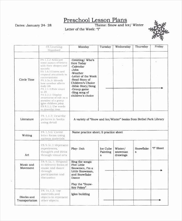Preschool Lesson Plan Examples Fresh Preschool Lesson Plan Template 10 Free Word Pdf Psd