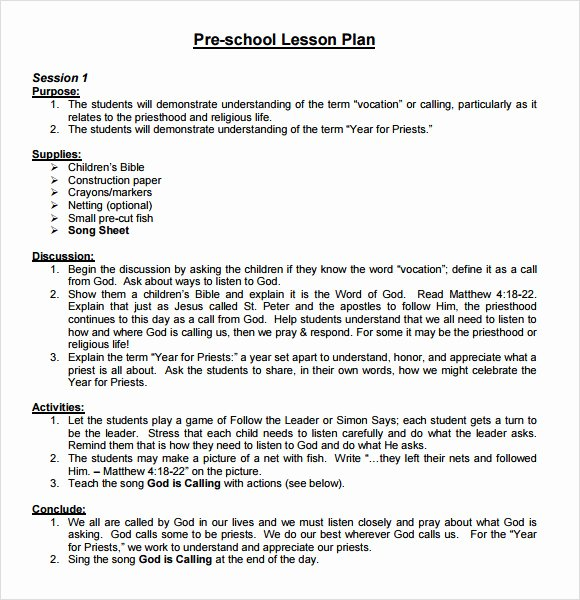 Preschool Lesson Plan Examples Inspirational Sample Preschool Lesson Plan 10 Pdf Word formats