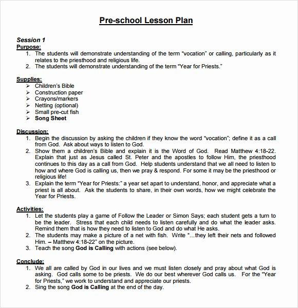 Preschool Lesson Plan Examples Inspirational Sample Preschool Lesson Plan 10 Pdf Word formats
