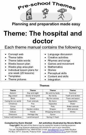 Preschool Lesson Plan Examples Luxury Preschool themes Example