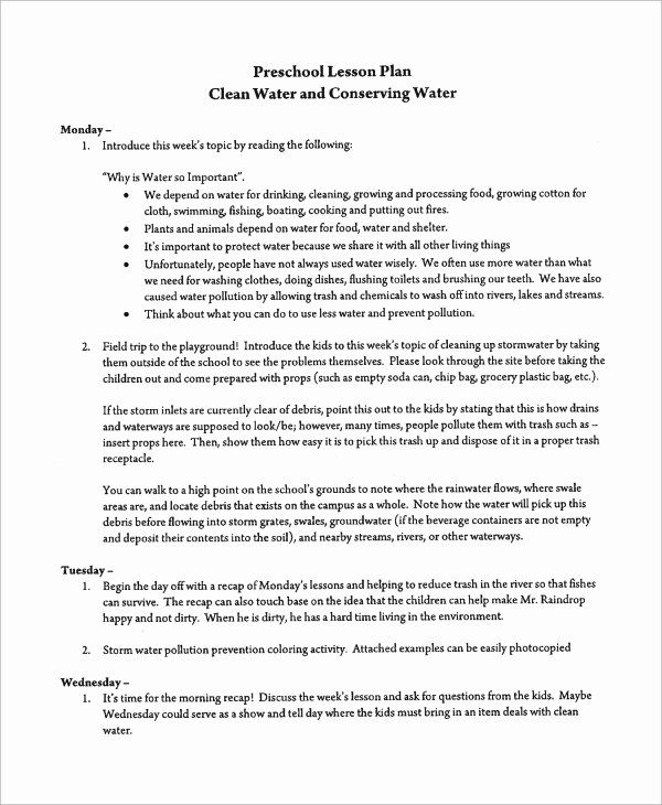 Preschool Lesson Plan Examples Luxury Sample Preschool Lesson Plan 9 Examples In Word Pdf