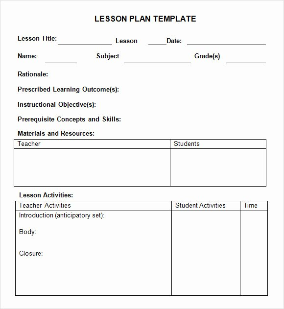 Preschool Lesson Plan Examples Unique Sample Weekly Lesson Plan 8 Documents In Pdf Word