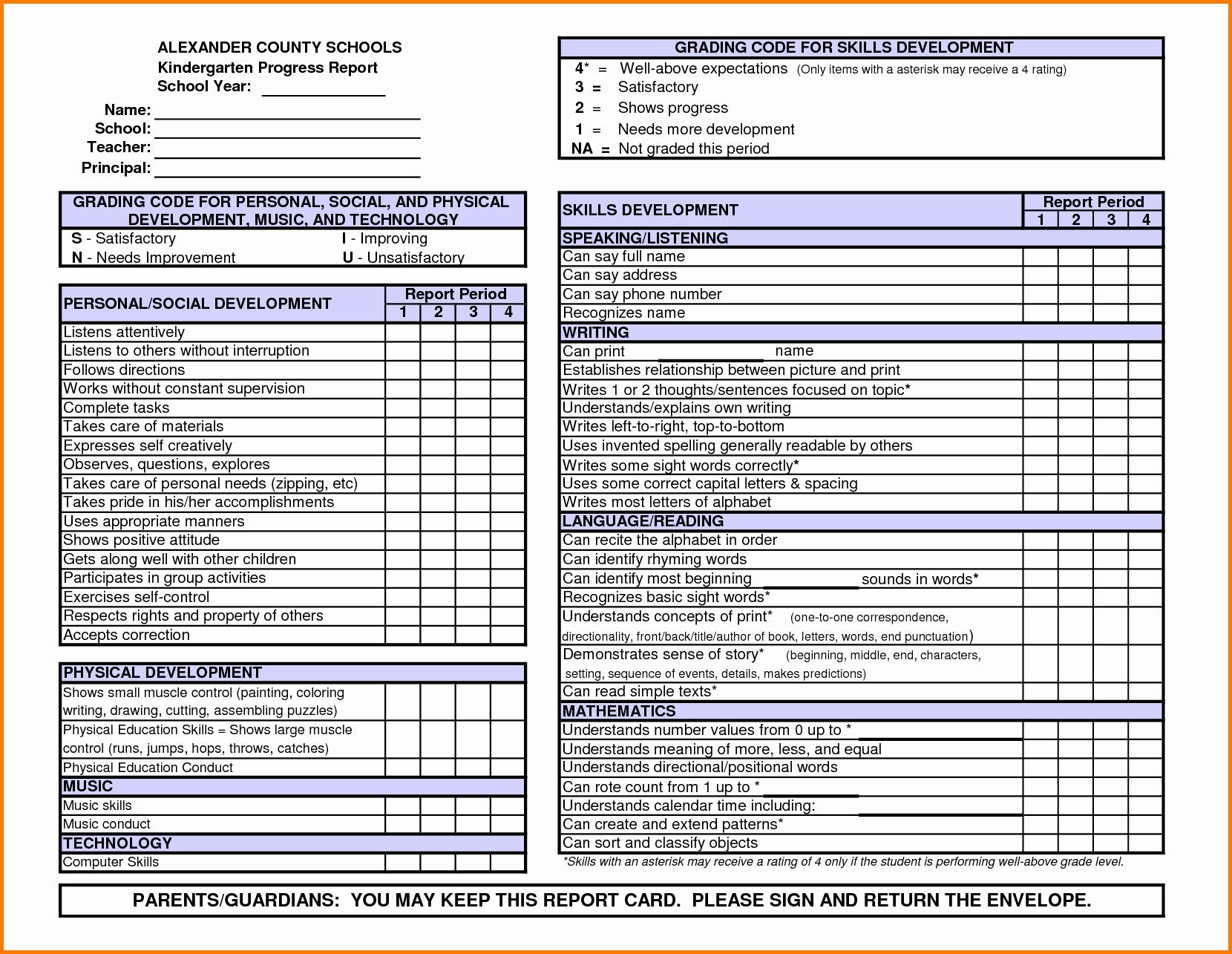 Preschool Progress Reports Templates Fresh Kindergarten Report Card Template