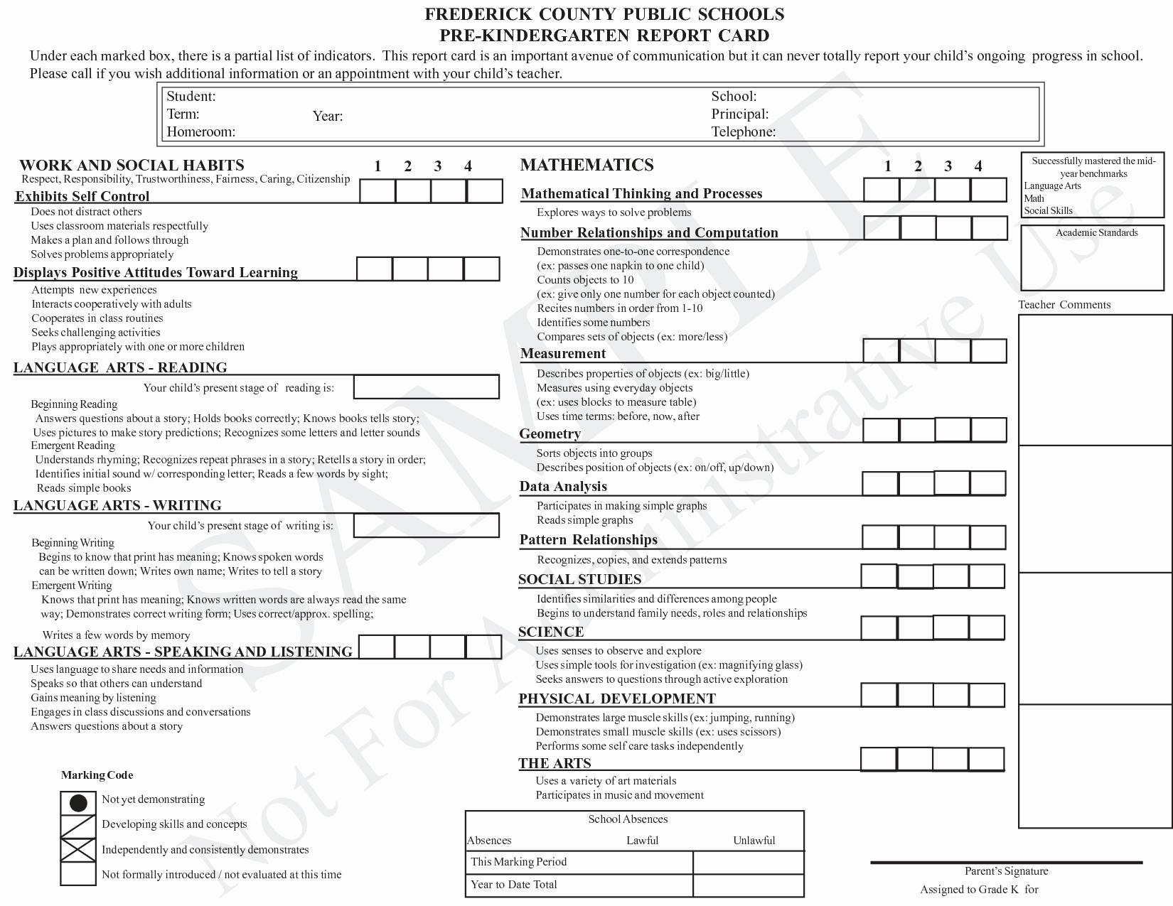 Preschool Progress Reports Templates Lovely Kindergarten Report Card Template Grade Card