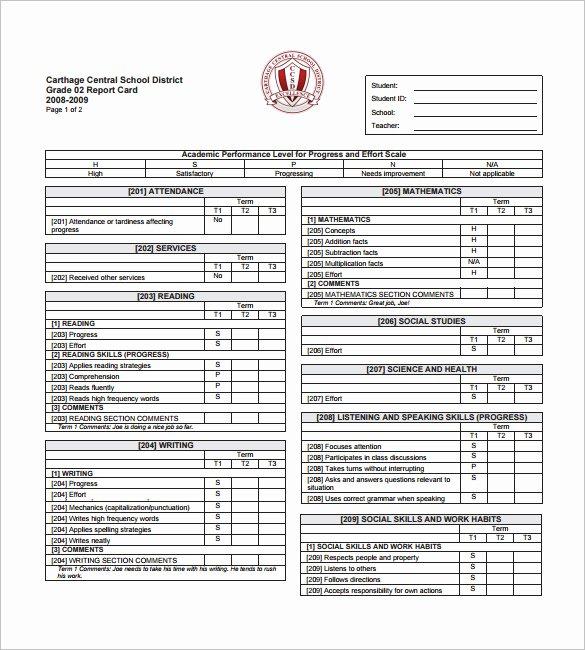 Preschool Progress Reports Templates New 28 Of 8th Grade Report Card Template