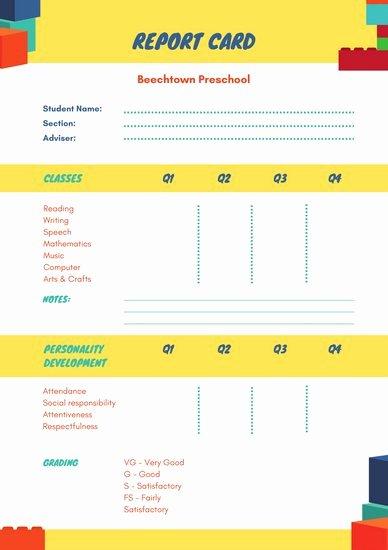 Preschool Progress Reports Templates New Customize 10 016 Report Card Templates Online Canva