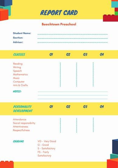 Preschool Report Card Template Beautiful Customize 10 016 Report Card Templates Online Canva