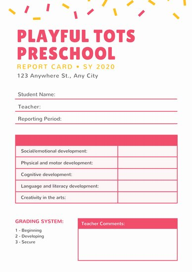 Preschool Report Card Template Best Of Customize 81 Preschool Report Card Templates Online Canva