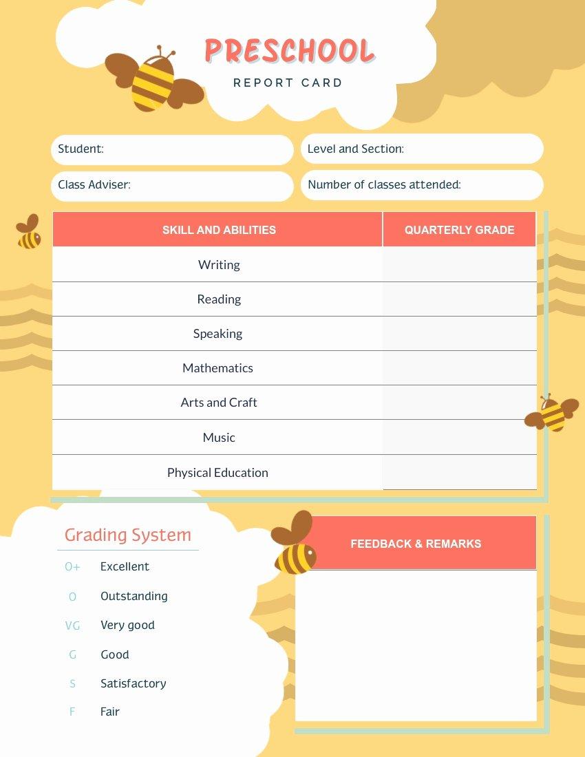 Preschool Report Card Template Elegant Report Card Templates