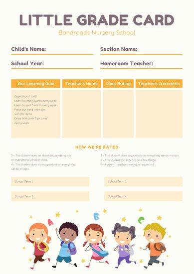 Preschool Report Card Template Lovely Customize 69 Preschool Report Card Templates Online Canva