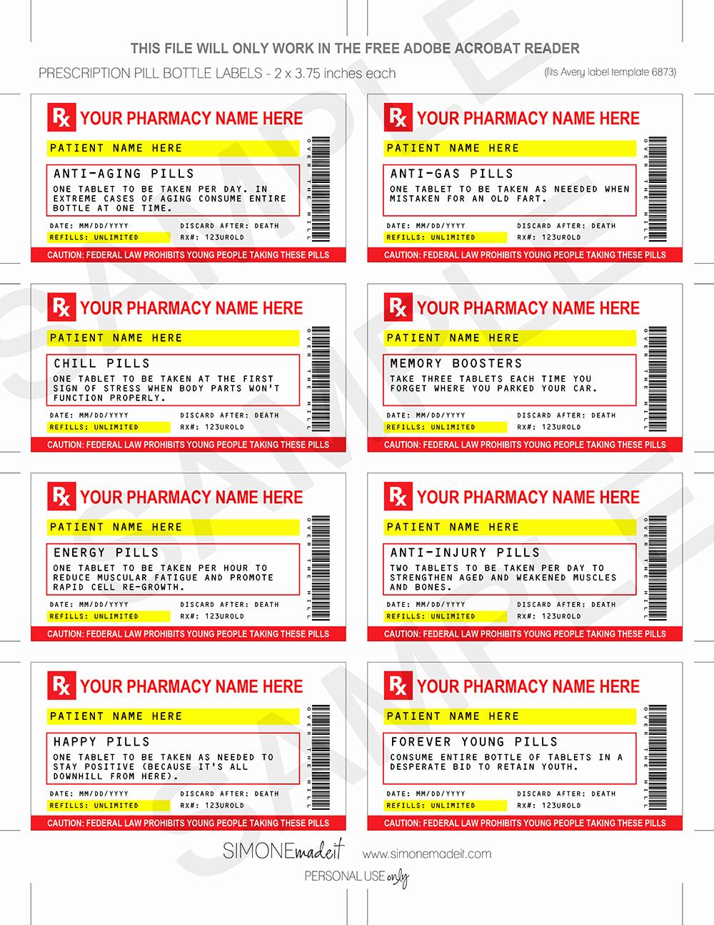 Prescription Pill Bottle Label Template Beautiful Gag Prescription Labels Template