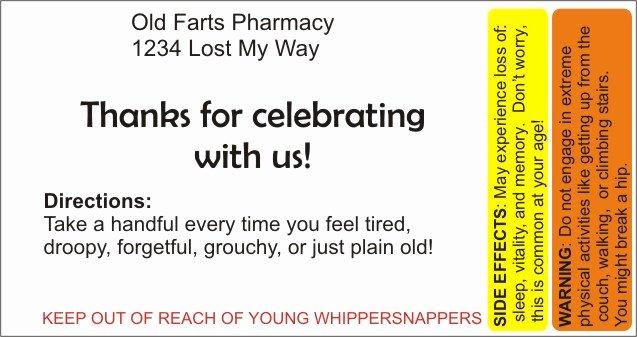 Prescription Pill Bottle Label Template Lovely Over the Hill – Pill Bottle Party Favors
