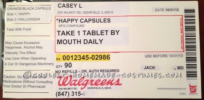 Prescription Pill Bottle Label Template Luxury original Homemade Prescription Bottle Costume
