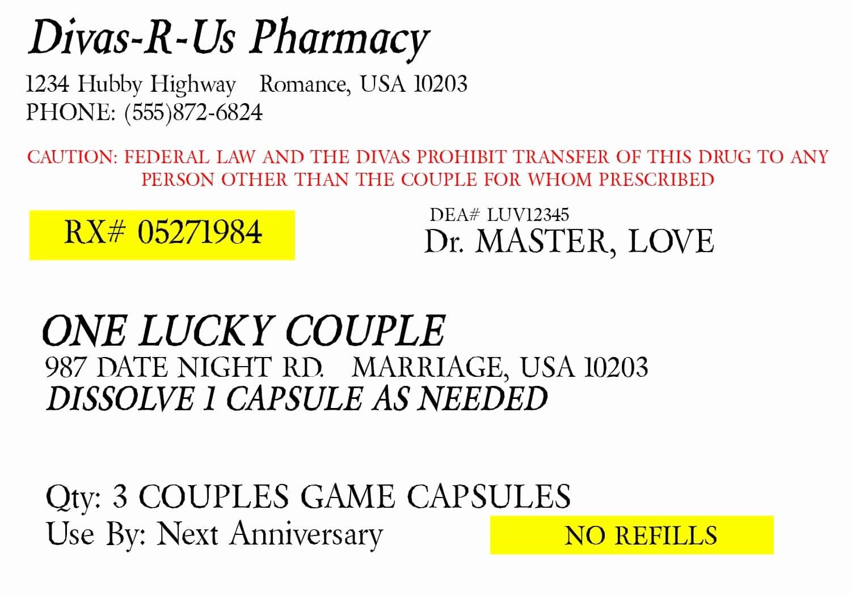 Prescription Pill Bottle Label Template New Prescription for Fun A Free Printable Romance Idea