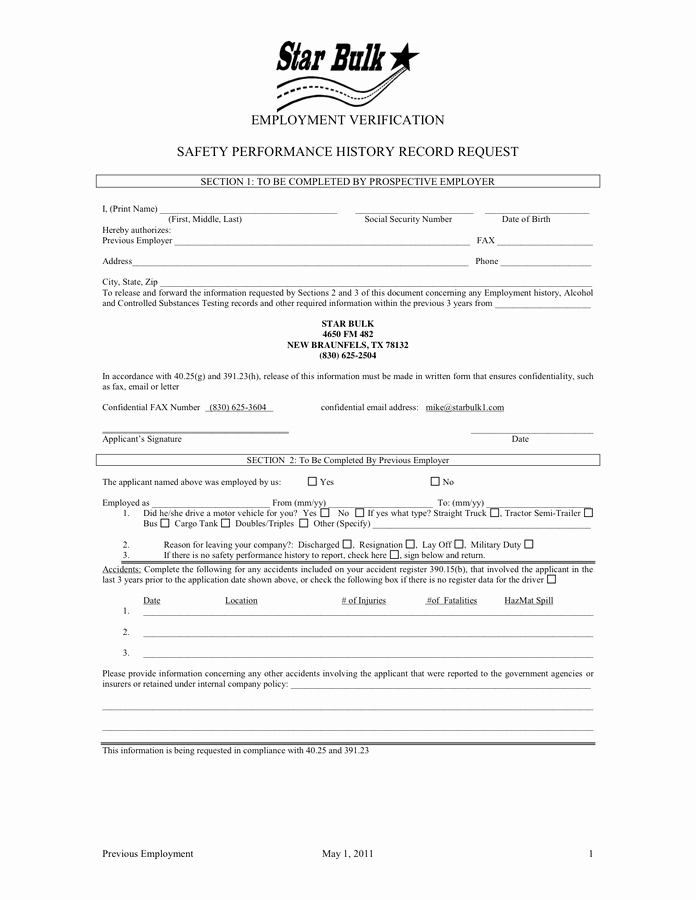 Previous Employment Verification form Template Awesome 25 Of Dot Driver Employment Application Template