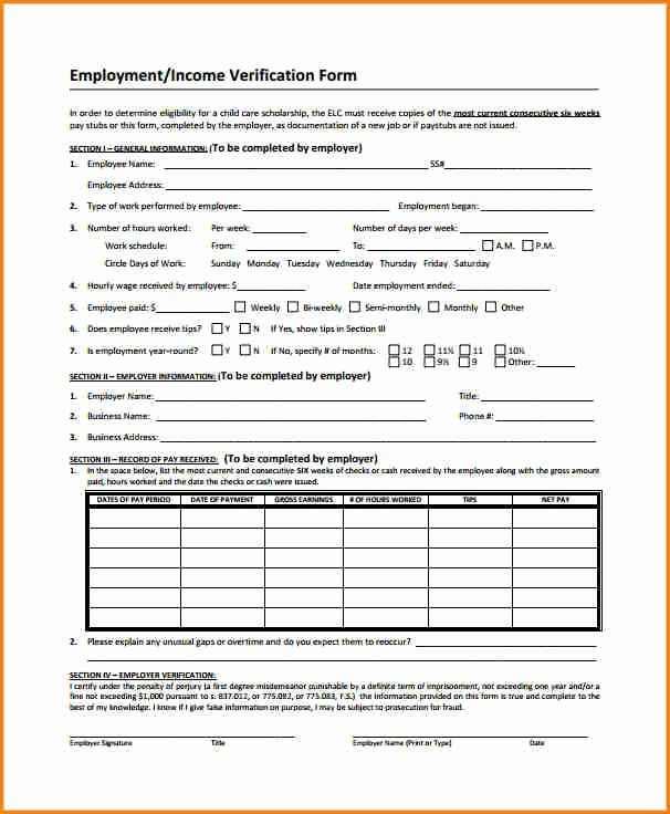 Previous Employment Verification form Template Beautiful 6 Employee Salary Verification