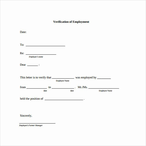Previous Employment Verification form Template Best Of Employment Verification Letter 14 Download Free