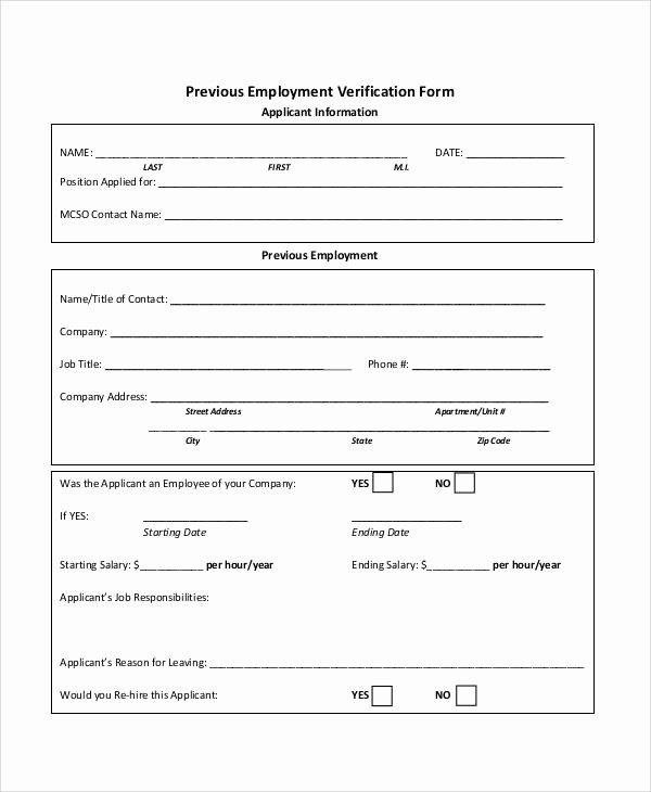 Previous Employment Verification form Template Inspirational Verification form