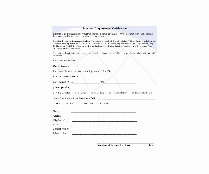Previous Employment Verification form Template Lovely 9 Employment Verification forms Free Pdf Doc format