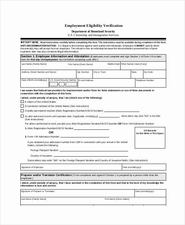 Previous Employment Verification form Template Lovely Employment Verification form