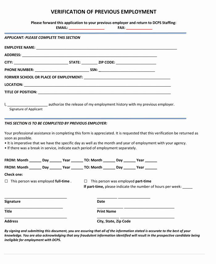 Previous Employment Verification form Template Luxury 5 Employment Verification form Templates to Hire Best Employee