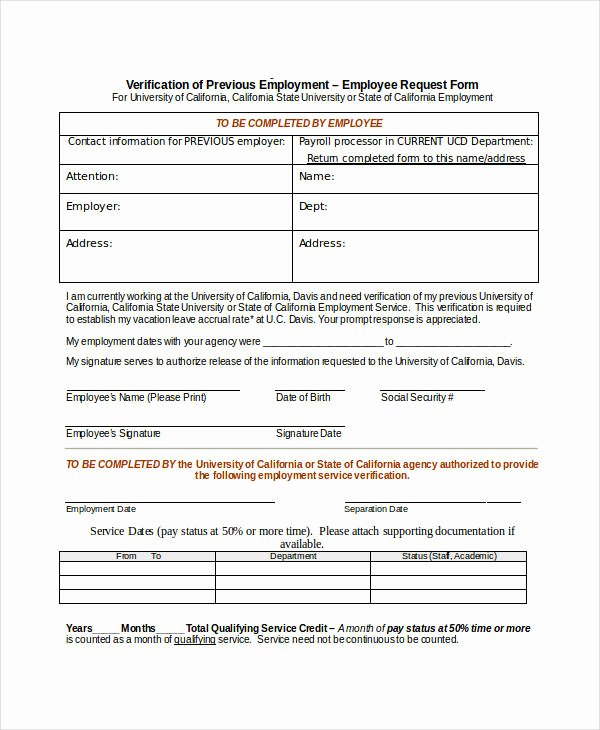 Previous Employment Verification form Template Luxury Free 34 Verification forms In Word