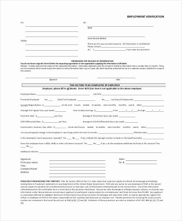 Previous Employment Verification form Template Luxury Verification Employment form Template