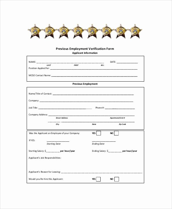 Previous Employment Verification form Template New Sample Employment Verification form 6 Documents In Pdf