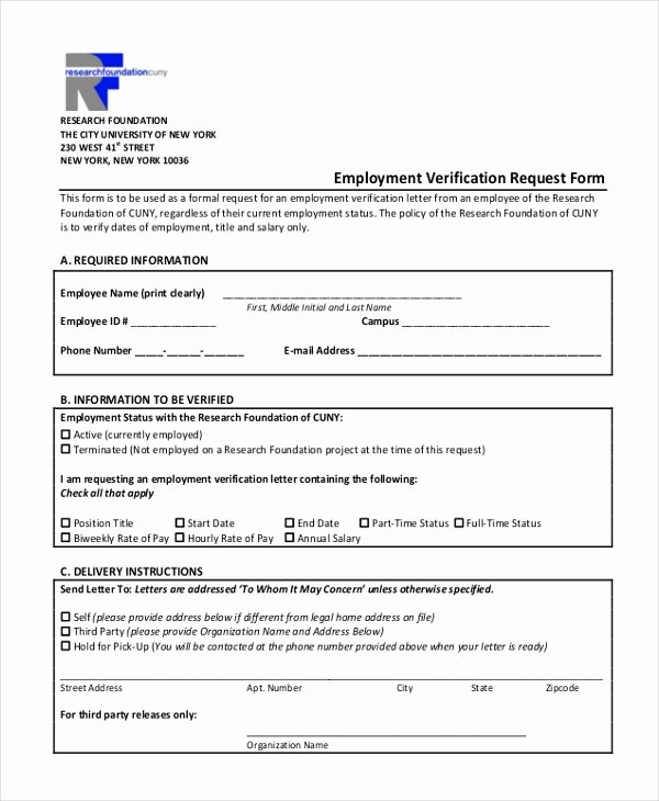 Previous Employment Verification form Template Unique Free 13 Sample Employment Verification forms